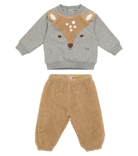 Il Gufo Baby faux-shearling sweatshirt and sweatpants set in grey