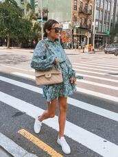 hello fashion,blogger,dress,shoes,sunglasses,bag,green dress,chanel bag,summer outfits,sneakers