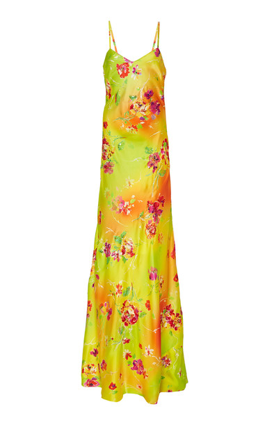 Ralph Lauren Evelyn Floral-Embellished Satin Evening Dress in yellow