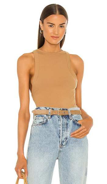 The Line by K Ximeno Tank Top in Tan in camel