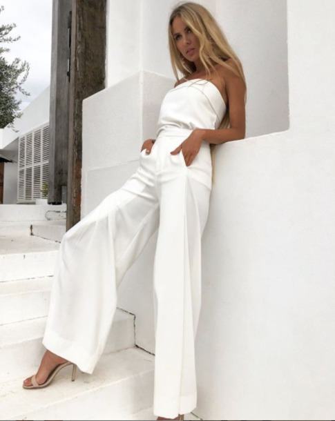 pants set white top dressy cocktail party chich classic