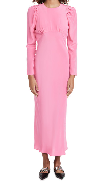 LES REVERIES Pleated Puff Sleeve Bias Dress in pink