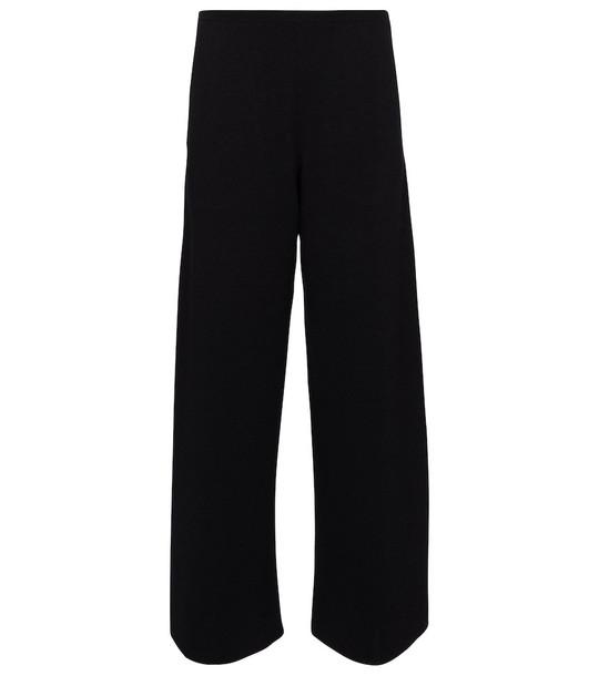 The Row Chuk merino wool and silk knit pants in black