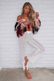 jacket,romee strijd,model off-duty,pants,fringes,mesh,coachella