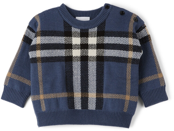 Burberry Baby Wool Check Denny Sweater in blue