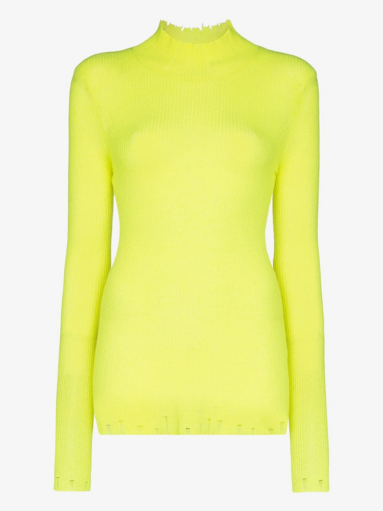 Les Reveries turtleneck ribbed cashmere top in yellow