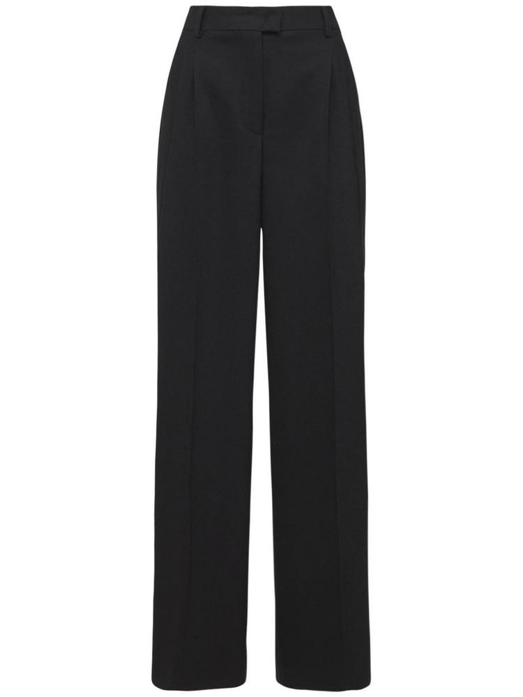 ALBERTA FERRETTI Wool Flannel Straight Leg Pants in black