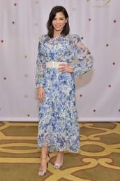 shoes,dress,midi dress,blue,celebrity,jenna dewan,floral,floral dress