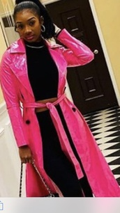 coat,hot pink trench coat
