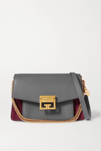 Givenchy - Gv3 Small Textured-leather And Suede Shoulder Bag - Gray