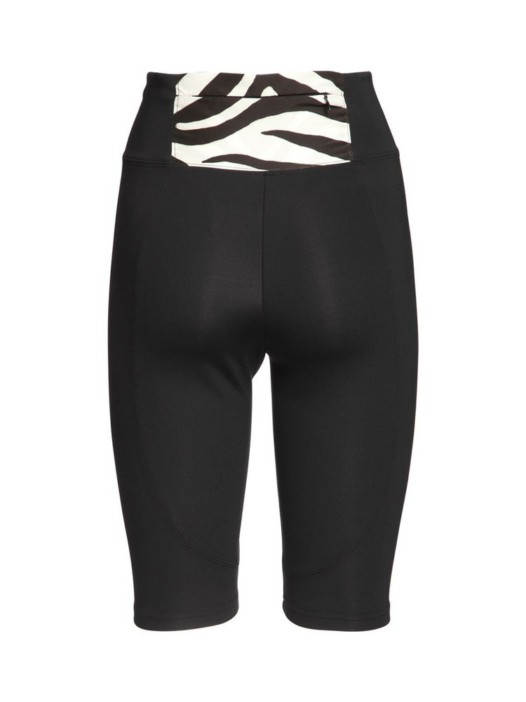 REDEMPTION Nylon Biker Leggings W/ Zebra Detail in black