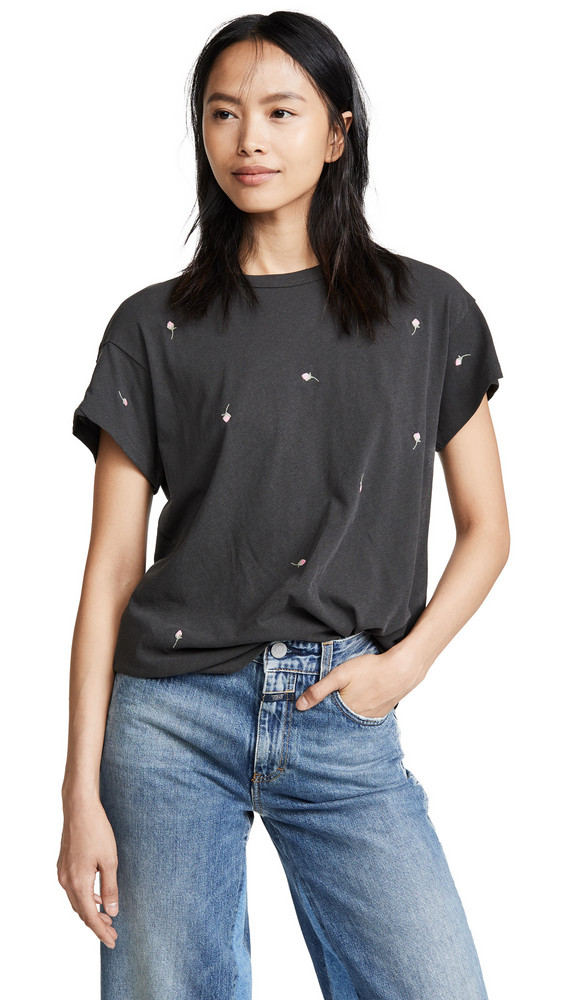 THE GREAT. THE GREAT. The Boxy Crew Tee with Rose Embroidery