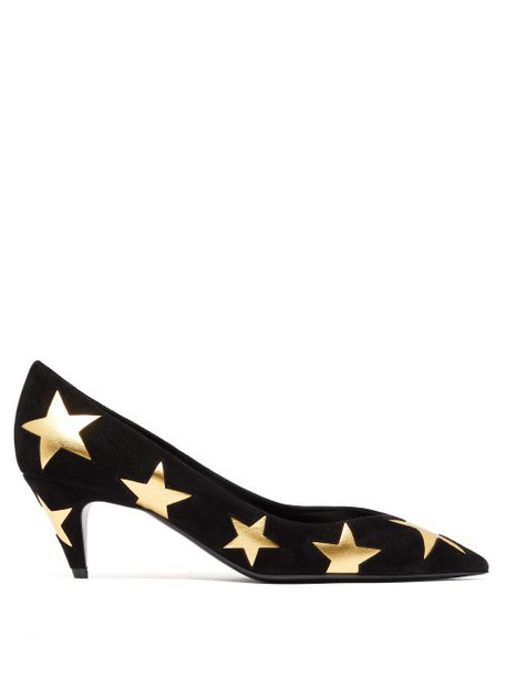 Saint Laurent - Charlotte Star Leather And Suede Pumps - Womens - Black Gold