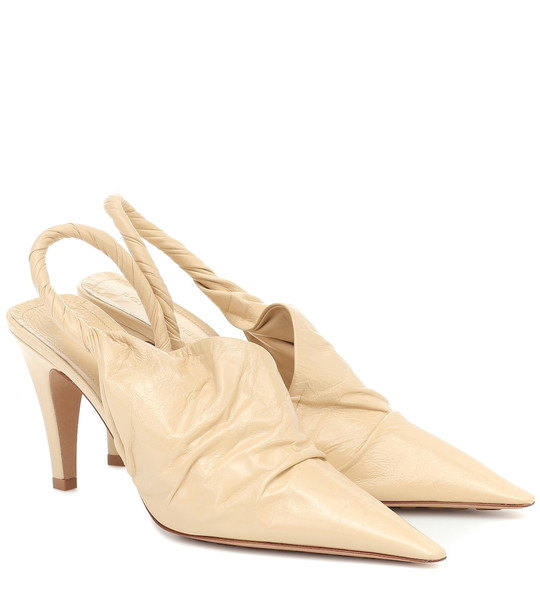 Bottega Veneta BV Point leather slingback pumps in beige