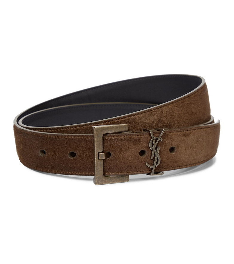 Saint Laurent Monogram suede belt in brown
