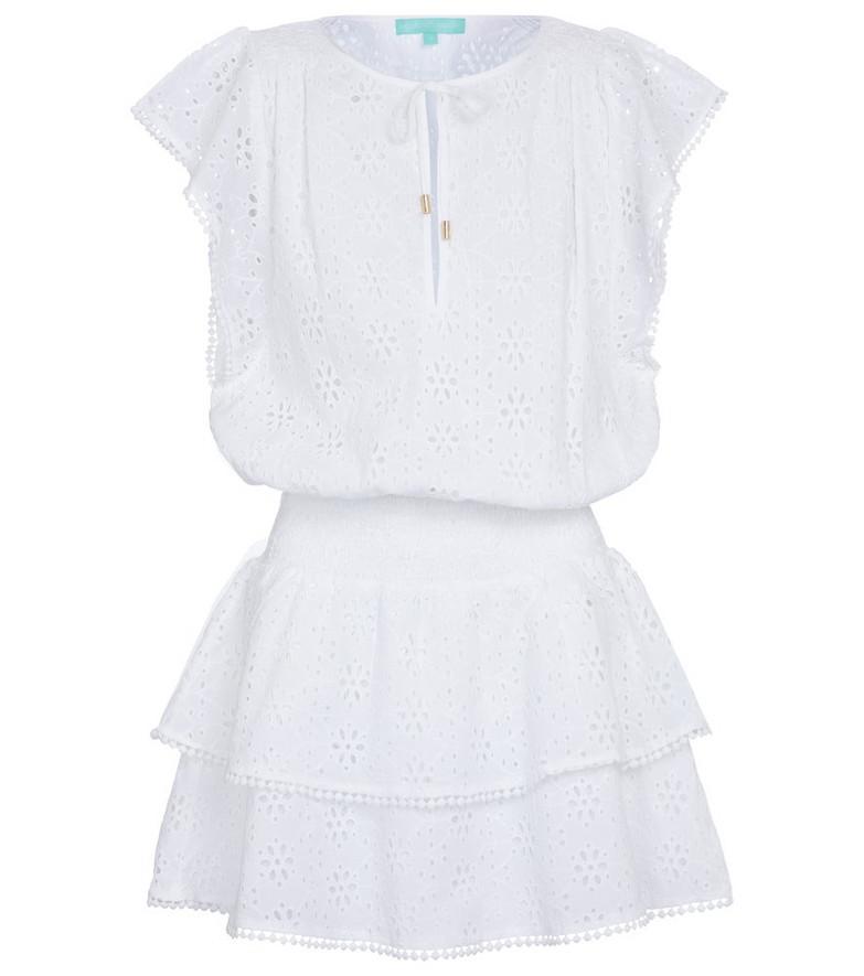 Melissa Odabash Keri broderie anglaise cotton minidress in white