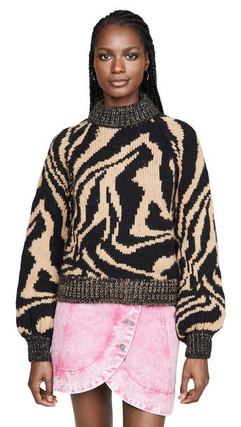 GANNI Hand Knit Wool Sweater in black