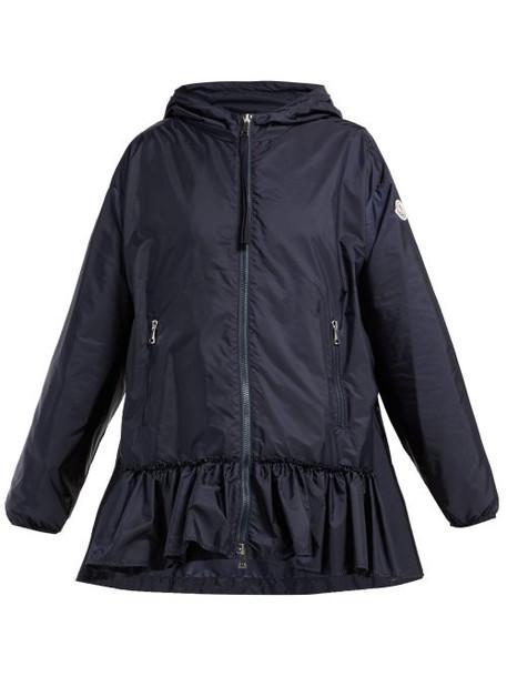 Moncler - Tbilissi Ruffle Hem Hooded Jacket - Womens - Navy
