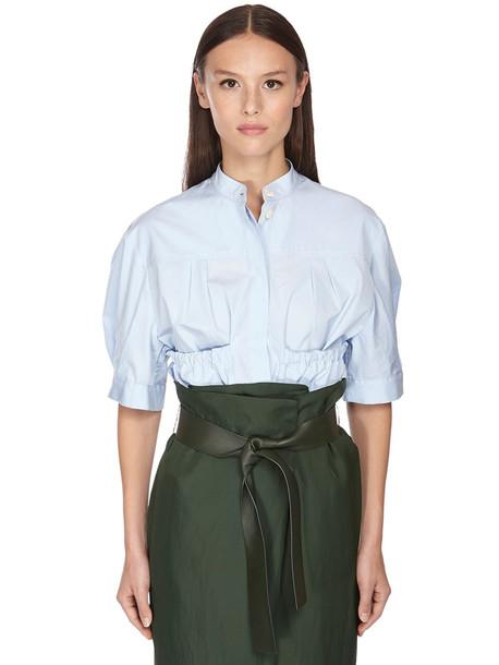 SALVATORE FERRAGAMO Cotton Poplin Shirt W/ Puff Sleeves in blue