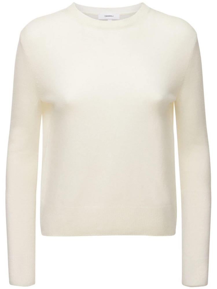 CASASOLA Pure Cashmere Classic Sweater in white