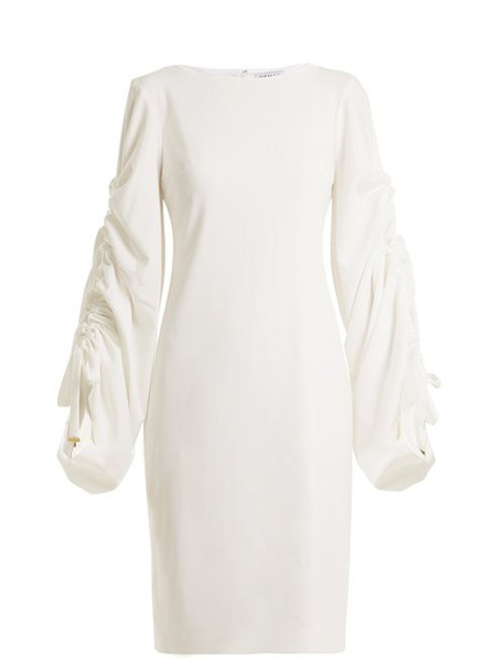 Osman - Talitha Gathered Sleeves Dress - Womens - Ivory