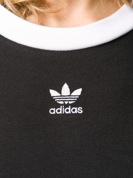 adidas two tone cropped T-shirt in black