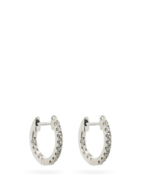 Rosa De La Cruz - Diamond & 18kt White Gold Hoop Earrings - Womens - White Gold