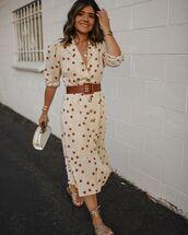 dress,belted dress,polka dots,midi dress,flat sandals,handbag