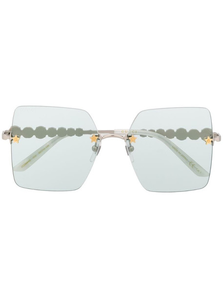 Gucci Eyewear crystal-embellished square-frame sunglasses in green
