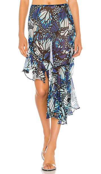 Kim Shui Butterfly Chiffon Skirt in Blue
