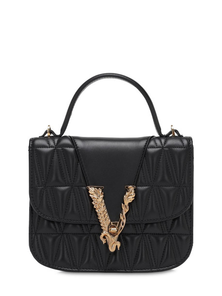 VERSACE Virtus Quilted Leather Top Handle Bag in black
