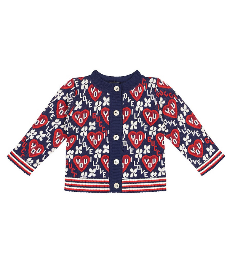 Gucci Kids Baby cotton-blend jacquard cardigan in blue