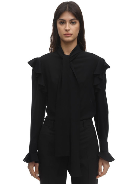 ALEXANDER MCQUEEN Georgette Blouse W/self-tie Bow Collar in black