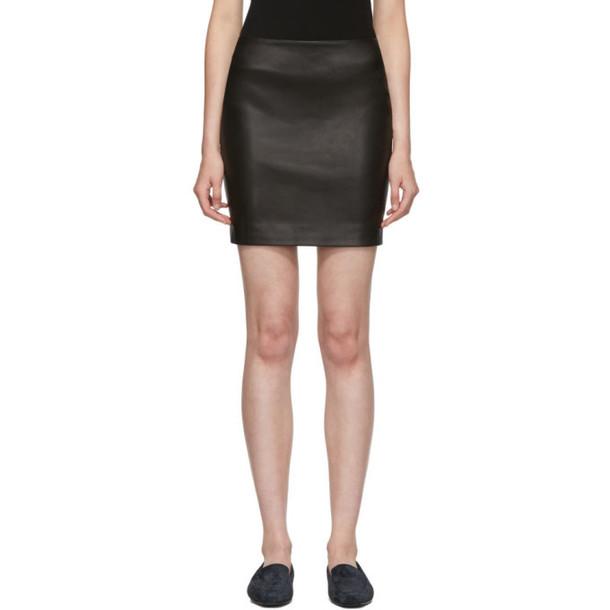 The Row Black Leather Loattan Miniskirt