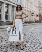 jeans,white jeans,high waisted jeans,cropped jeans,slingbacks,ysl bag,turtleneck sweater