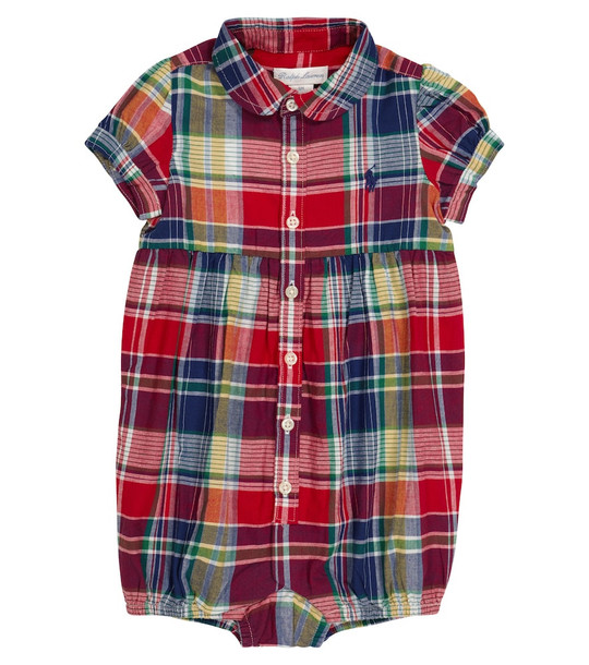 Polo Ralph Lauren Kids Baby checked cotton playsuit in red