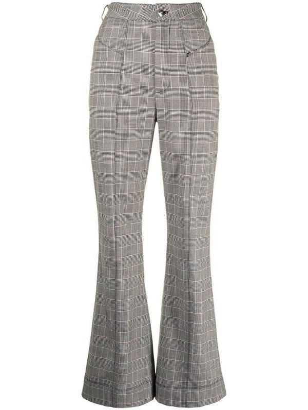 Fleur Du Mal plaid-check flared trousers in grey