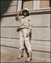 pants,cargo pants,high waisted pants,white pants,cowboy boots,jacket,floppy hat