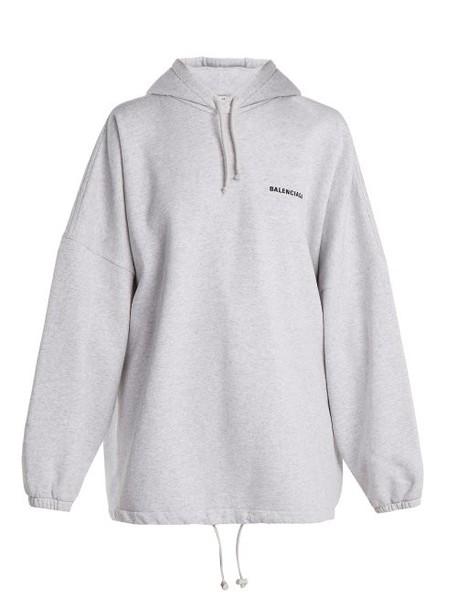 Balenciaga - Oversized Cotton Blend Hooded Sweatshirt - Womens - Light Grey