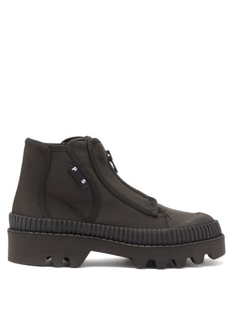 Proenza Schouler - Zip Up Rubber And Canvas Boots - Womens - Black