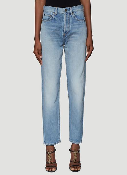 Saint Laurent Frayed Hem Denim Jeans in Blue size 24