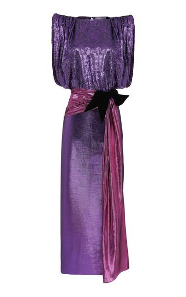 Raisa Vanessa Belted Taffeta Midi Dress in purple