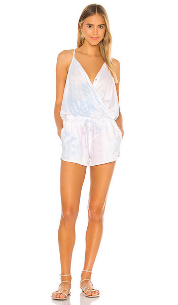 Bella Dahl Color Spray Cross Front Romper in White in blue / pink