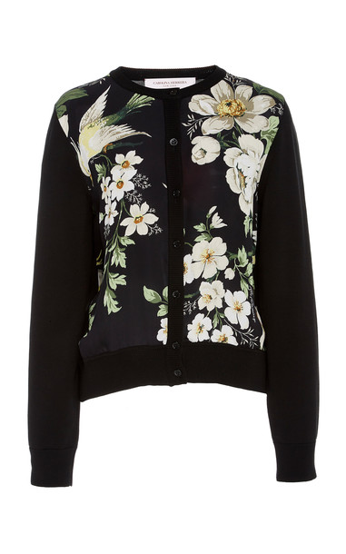 Carolina Herrera Floral-Print Silk And Cotton Cardigan in black