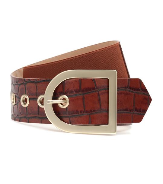 Max Mara Croc-effect leather belt in brown