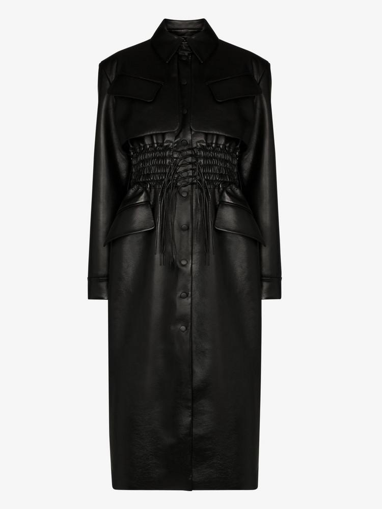 Matériel shirred faux leather coat in black