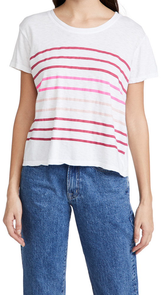 SUNDRY Faded Stripes Vintage Tee in white