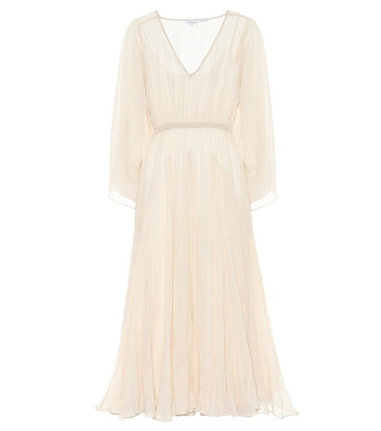 RHODE Emily metallic cotton maxi dress in white