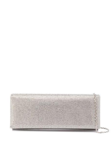 René Caovilla stud-embellished clutch bag in silver