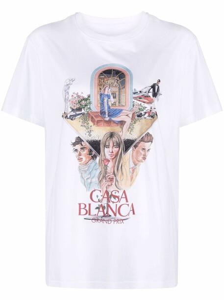 Casablanca graphic-print short-sleeve T-shirt - White